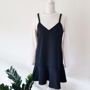 English Factory Ruffle Hem Mod Sweater Dress M 493